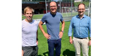 Die Führungscrew des FC Freienbach (v. l.): Sportchef Mario Zimmermann, Trainer Jürgen Seeberger und Präsident Benjamin Fuchs.