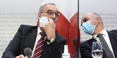 Bundespräsident Guy Parmelin und Gesundheitsminister Alain Berset
