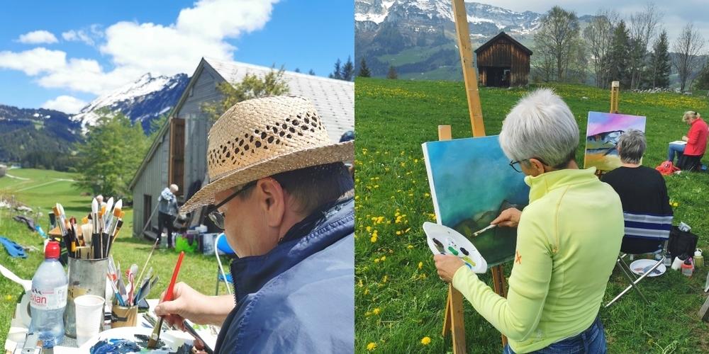 Für das Motto «Auf der Suche nach meinem gemalten Berg» gab es in Amden einige Motive.