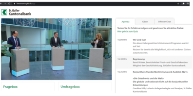 "Diskussion am virtuellen ""Horizonte"": v.l. Regierungsrat Marc Mächler, René Walser, Geschäftsleitung SGKB, und Moderatorin Sabine Bianchi (Screenshots jg)."