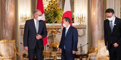 Bundespräsident Guy Parmelin hat in Japan den japanischen Premierminister Yoshihide Suga getroffen.