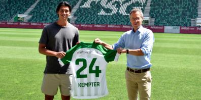 Michael Kempter zusammen mit Präsident Matthias Hüppi.
