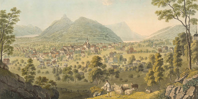 Idyllische und idealisierte Landschaftsdarstellungen wie diese vom Talkessel Schwyz trugen zur wachsenden Beliebtheit der Region Schwyz für Reisende bei.