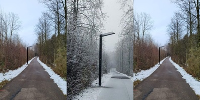 Die ersten 15 LED Solar-Strassenleuchten beleuchten fortan den Radweg Richtung Rüti.