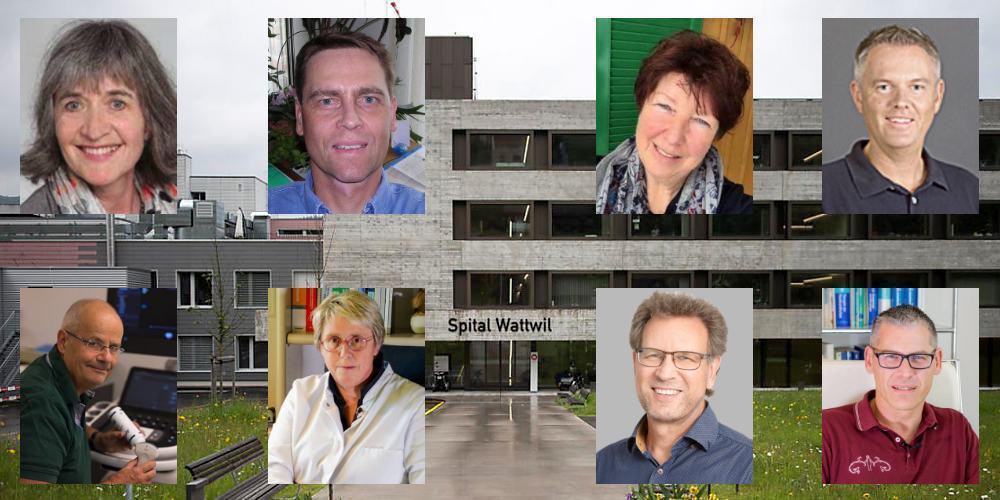 10 Ärztinnen und Ärzte aus dem Toggenburg (2 nicht auf Bild) sagen klar Nein zur Spitalschliessung.