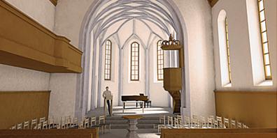So oder ähnlich könnte der Chorraum aussehen. Der Chorbogen verschönert mit den bekannten Schriftzügen, die Fenster mit oder ohne farbigem Glas.