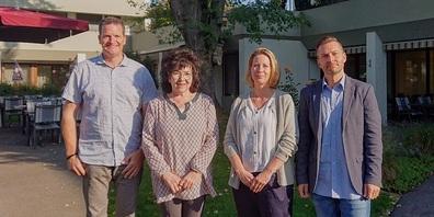 Im Bild von links: Martin Rüesch (designierter Stv. Zentrumsleiter), Renate Merk (Zentrumsleiterin), Iris Lindemann Krüsi (VR-Präsidentin) und Franco Graf (designierter Zentrumsleiter).
