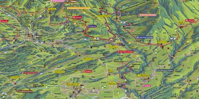 Auf der Freizeitkarte des Vereins Goldingertal sind Eschenbachs touristischen Attraktionen aufgeführt.